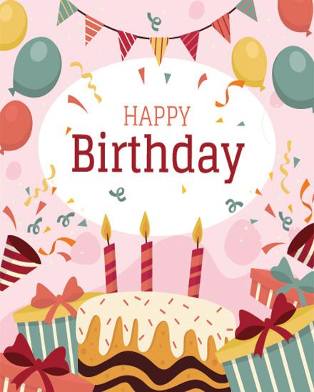 create free Cake Balloons group card