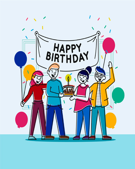 create free Friends Balloons group card