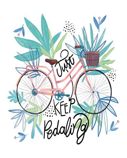 create free Inspirational quote with watercolor bike group card