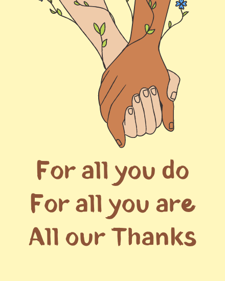 create free All our Thanks group card