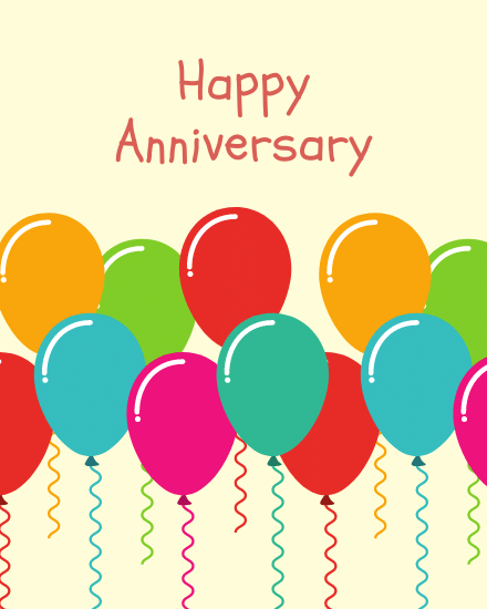 create free Balloons Anniversary group card