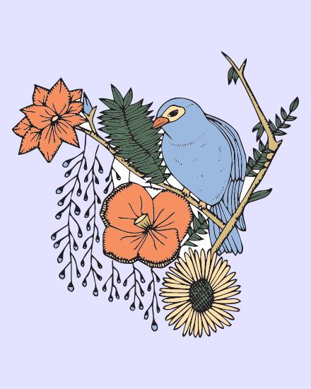 create free Floral Bird group card