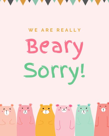create free Beary Sorry group card
