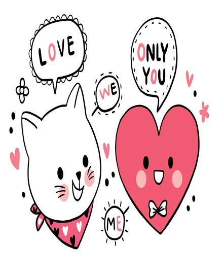 create free Cat big heart group card