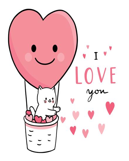 create free Cat heart balloon group card