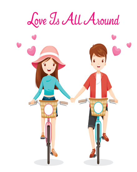 create free Man woman riding on bicycle group card