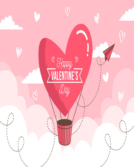 create free Heart flying group card