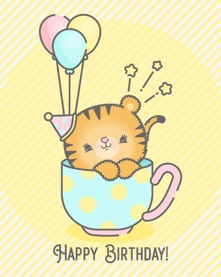 create free Kawaii Birthday group card
