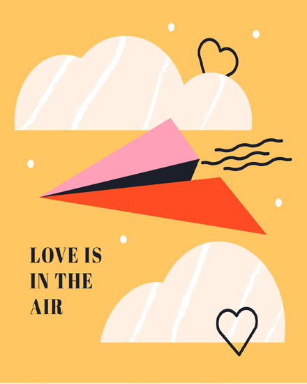 create free Love is in the air group card