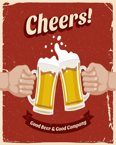 create free Retro poster with beer group card