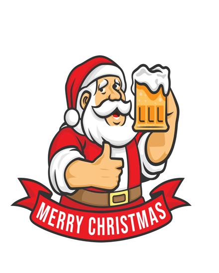 create free Santa holding beer group card