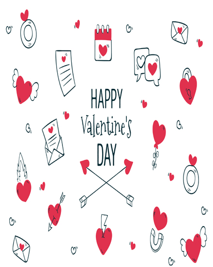create free White Red Heart group card