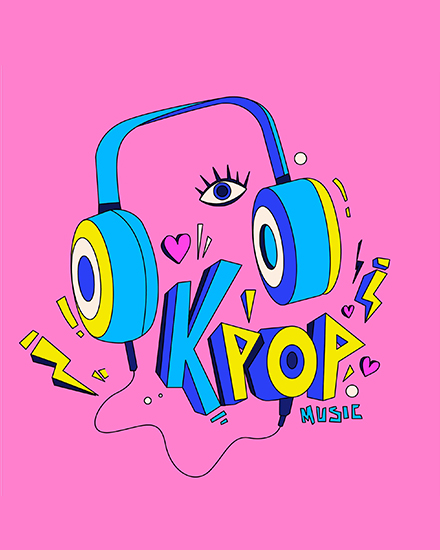 create free K pop music group card