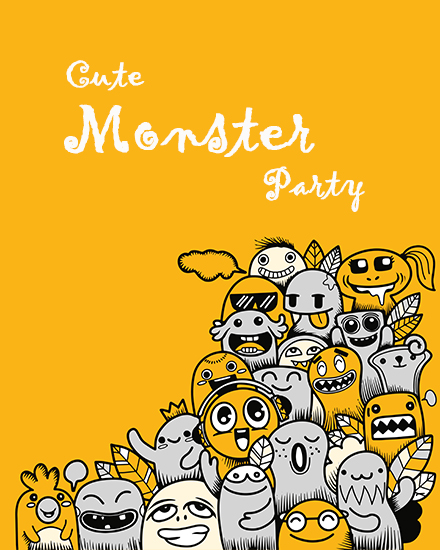 create free Monster party group card
