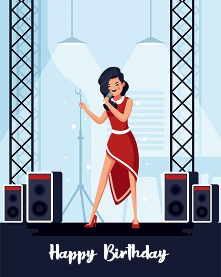 create free singer's birthday group card