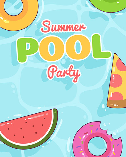 create free Summer pool party group card