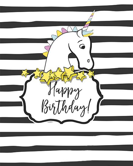 create free Unicorn Birthday group card