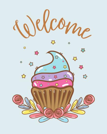 create free Welcome Cupcake group card